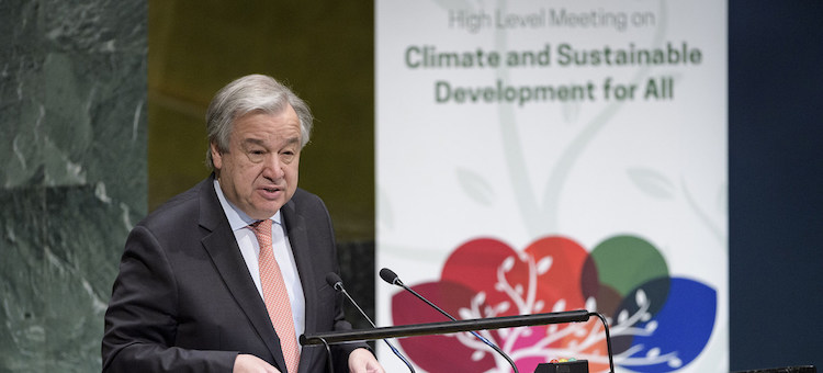 Photo: UN Chief addressing High-level meeting on Climate and Sustainable Development for All on March 28. UN Photo/Manuel Elias