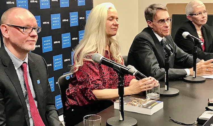 Photo: Human Rights Watch (HRW) at the UNCA press conference on 14 January 2020 (from left to right) Louis Charbonneau, UN director at HRW; Emma Daly, media director, HRW; Kenneth Roth, executive director, HRW and Sophie Richardson, China director, at HRW presenting HRW 2020 Annual Report focusing on China. Credit: Erol Avdović - Webpublicapress New York 2020.