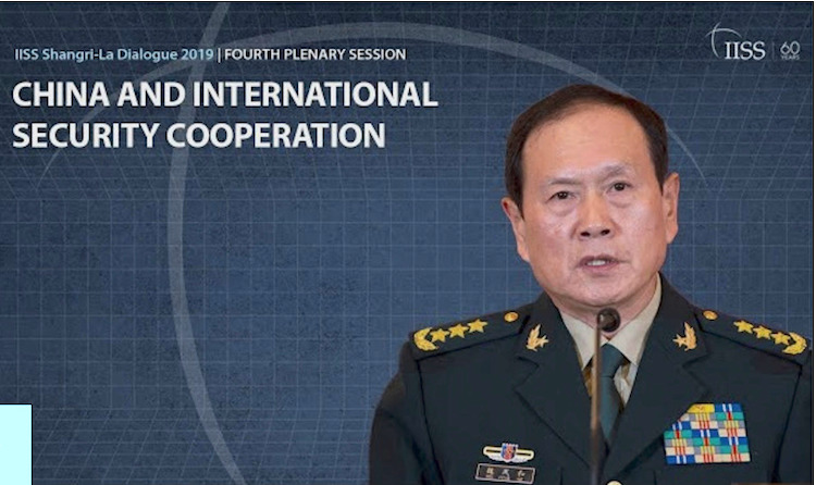 Photo: Screenshot of IISS Video of China's defense chief Wei Fenghe addressing the Shangri-La Dialogue meeting in Singapore, June 2, 2019.