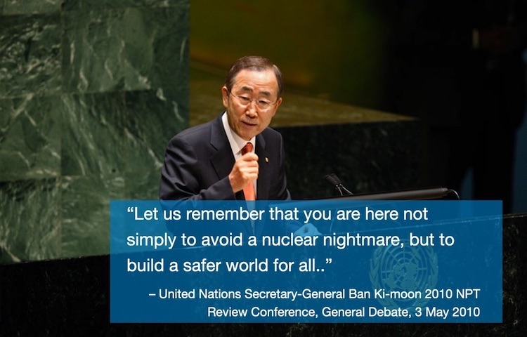 Photo: United Nations Secretary-General Ban Ki-moon addresses the 2010 High-level Review Conference of the Parties to the NPT. UN Photo/Eskinder Debebe