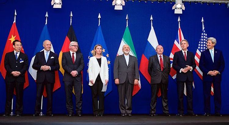 Photo: The ministers of foreign affairs and other officials from the P5+1 countries, the European Union and Iran while announcing the framework of a Comprehensive agreement on the Iranian nuclear programme. April 2015. Credit: Wikimedia Commons.