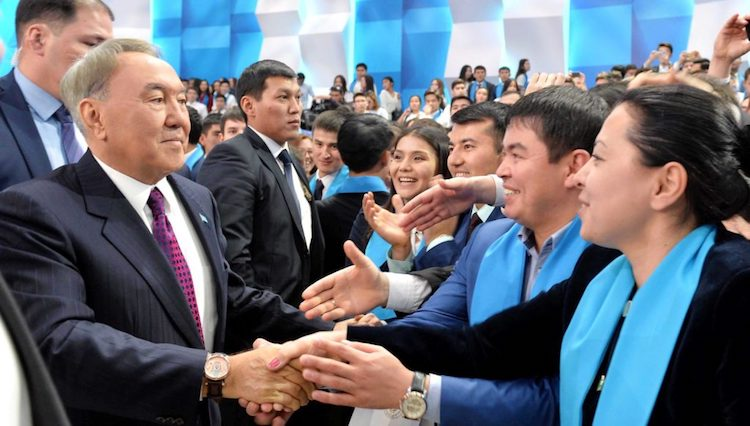 Photo: Outgoing Kazakh President Nazarbayev with youth representatives. Credit: akorda.kz.