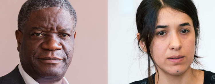 Photo: The two Nobel Peace laureates: and Denis Mukwege. Credit: Amnesty International. Nadia Murad and
