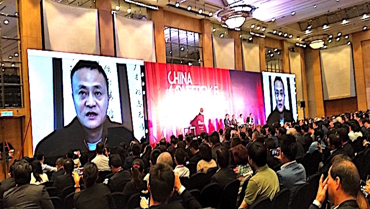 Photo: Ali Baba founder Jack Ma addressing the conference via skype. Credit: Kalinga Seneviratne | IDN-INPS.