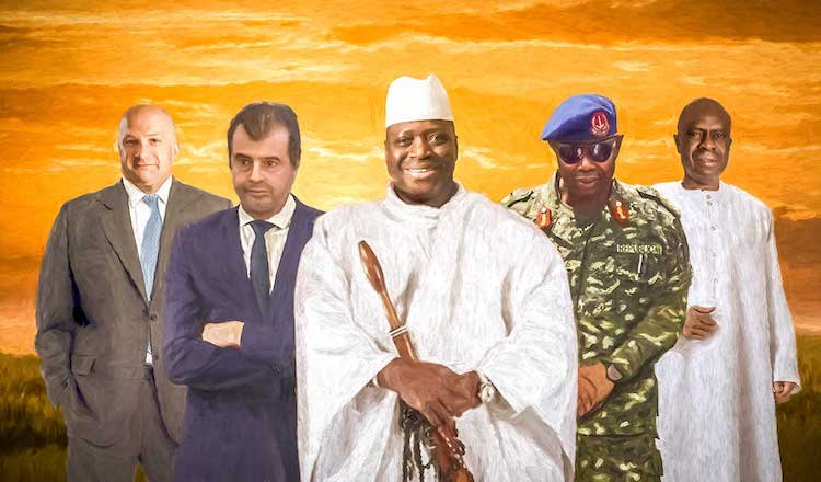 Photo: The Inner Circle that helped Jammeh (centre) steal Gambia. Source: OCCRP. Credit: Edin Pasovic.