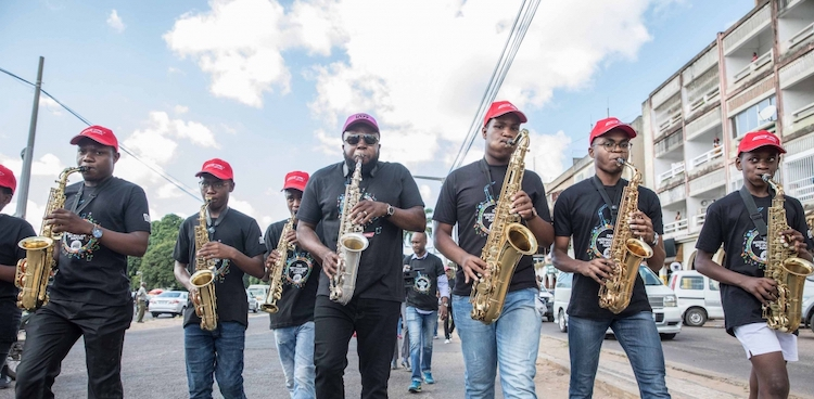 Photo: Musicians perform on the streets of Maputo, Mozambique, on International Jazz Day 2019. Photo: Mauro Vombe
