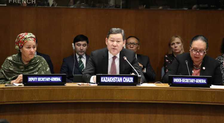 Photo: Kazakh Ambassador Kairat Umarov, Chair of the LLDCs Group, speaking at at the Ambassadorial level First 2020 Meeting of the Group of Landlocked Developing Countries on 22 Januray. Credit: Kazakhstan Permanent Mission to the UN in New York.
