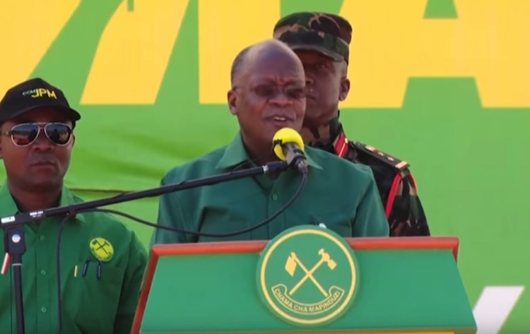 Photo: Screenshot of President Magufuli's last public appearance in Dodoma while launching a multi-million bus terminus. Source: Online Community KE YouTube