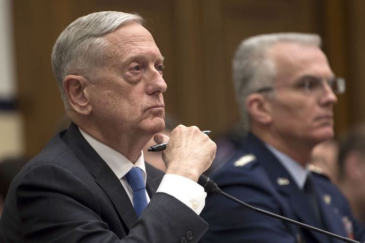 Photo: Defense Secretary James N. Mattis and Air Force Gen. Paul J. Selva, vice chairman of the Joint Chiefs of Staff, testify on the National Defense Strategy and the Nuclear Posture Review before the House Armed Services Committee in Washington, D.C., Feb. 6, 2018. DoD photo by Navy Petty Officer 1st Class Kathryn E. Holm