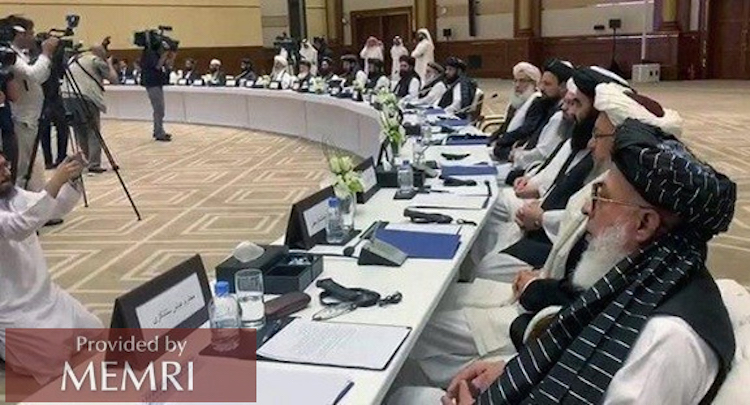 Photo: The July 7-8 talks between the Taliban and Afghan delegates in Doha. Credit: MEMRI