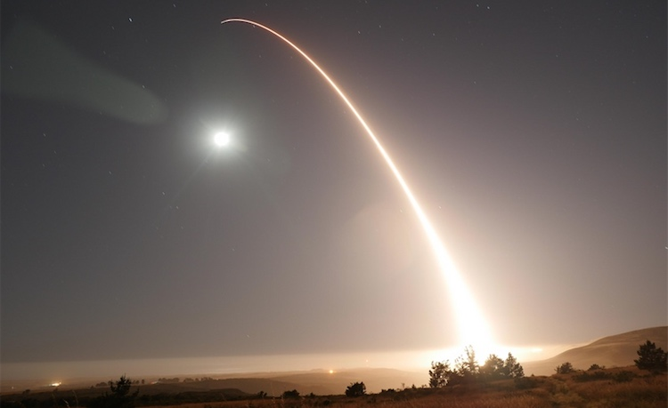 Photo: An unarmed Minuteman III intercontinental ballistic missile launches from Vandenberg Air Force Base on May 3, 2017. (U.S. Air Force photo by 2nd Lt. William Collette)