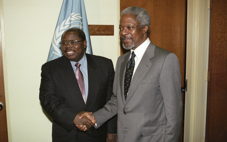 Photo: Tanzanian President Benjamin William Mkapa (left) meets with the UN Secretary-General Kofi Annan during the special session of the General Assembly for the overall review and appraisal of the implementation of Agenda 21 since the 1992 Earth Summit. Credit: UN Photo/Milton Grant.