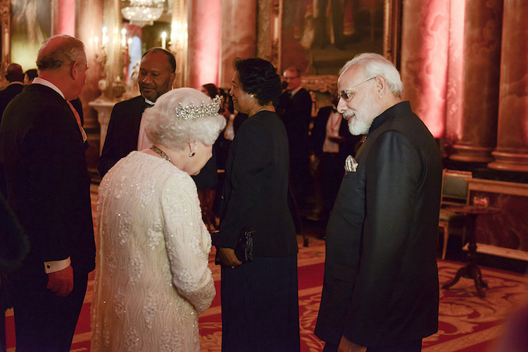 Photo: Prime Minister Modi with the Queen, the head of the Commonwealth. Credit: CHOGM.