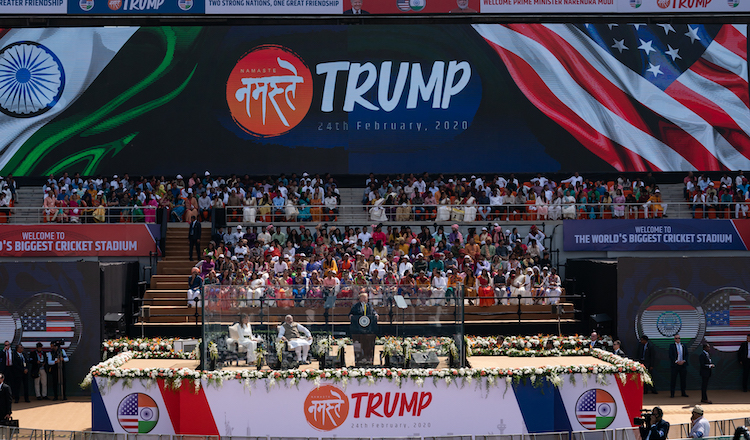 Photo: U.S. President Donald Trump and Indian Prime Minister Narendra Modi at Namaste Trump rally in Ahmedabad, India on 24 February 2020. (Official White House Photo by Andrea Hanks).