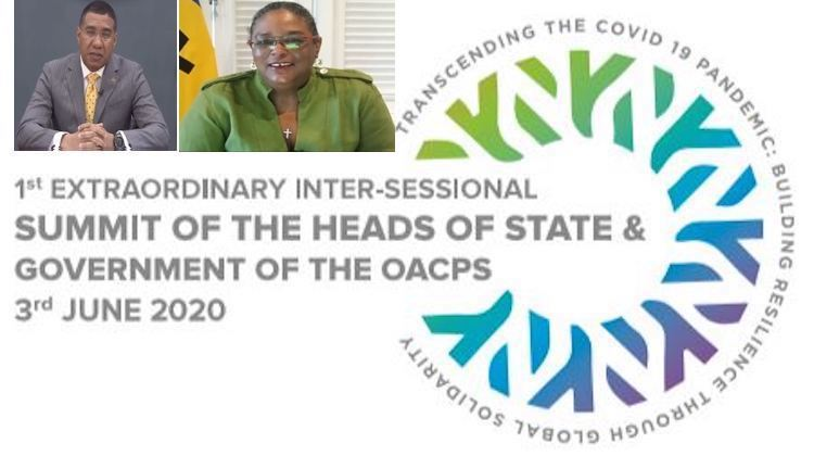 Collage: Combining OACPS Summit Logo and Prime Ministers of Jamaica and Barbados. Images from OACPS and CMC.
