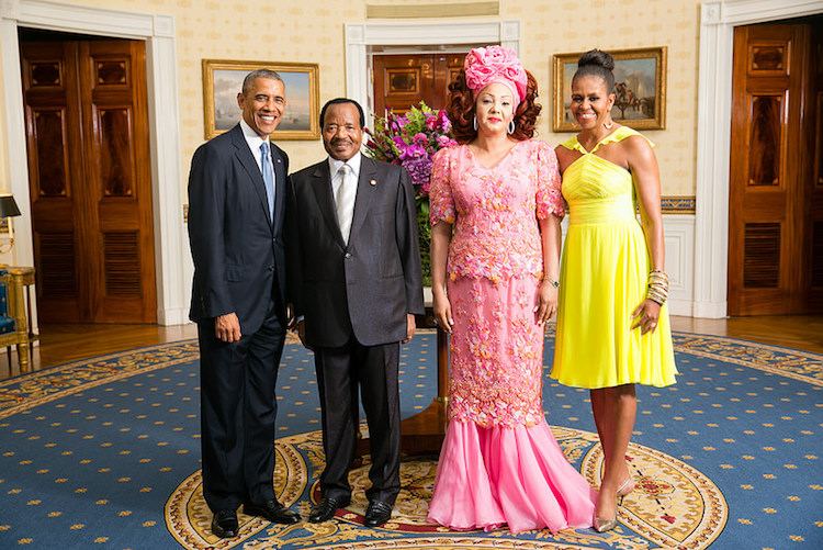 Photo: President Barack Obama and First Lady Michelle Obama greet Paul Biya, President of the Republic of Cameroon, and Chantal Biya. Credit: U.S. Department of State.