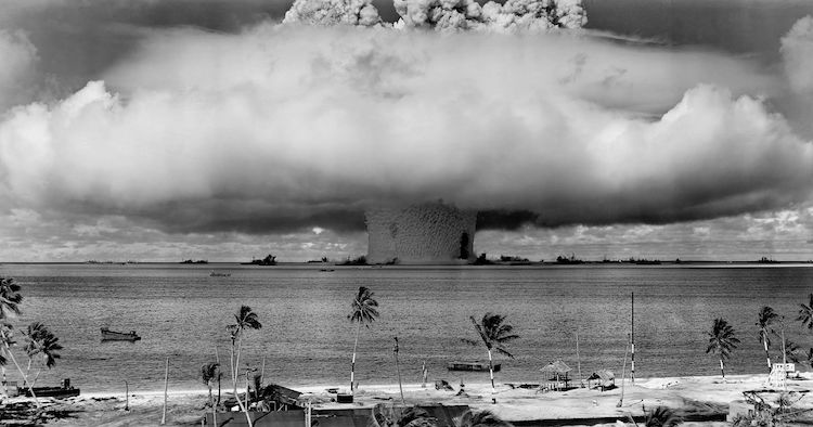 "Photo: ""Baker Shot"", part of Operation Crossroads, a nuclear test by the United States at Bikini Atoll in 1946. Credit: Wikimedia Commons."