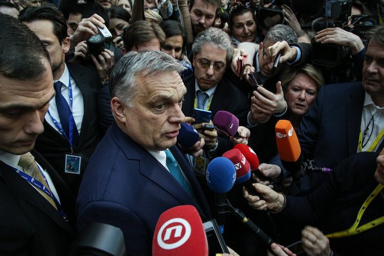 Photo: Hungarian prime minister Victor Orbán at the European Council. Brussels, Belgium 2020. Credit: Nicolas Economou/NurPhoto/PA Images.