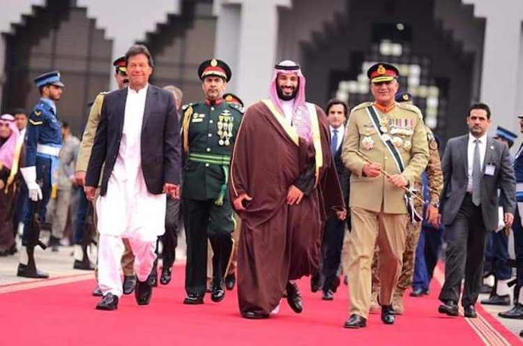 Photo: Pakistani Prime Minister Imran Khan (left) with Saudi Prince Mohammad bin Salman bin Abdulaziz Al Saud (second from right) in February 2019. Source: Pakistan Tehreek-e-Insaf (PTI) Twitter account.
