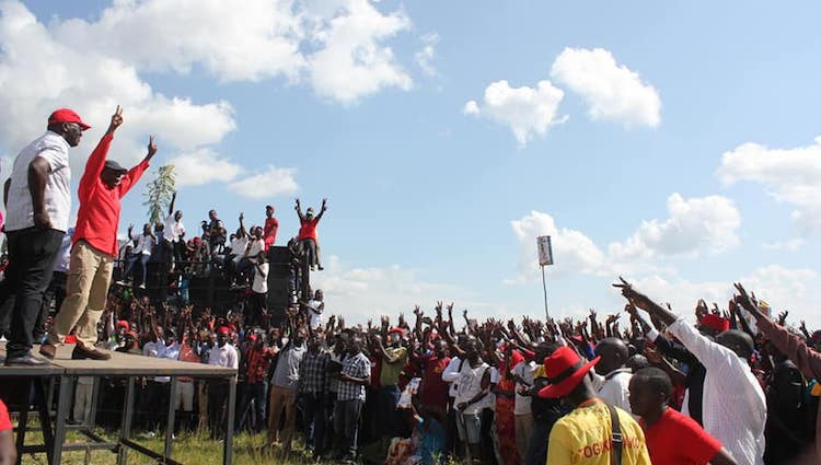 Photo: Protests for freedom of Bobi Wine. Credit: Facebook Bobi Wine