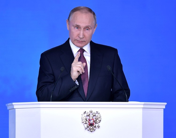 Photo: Vladimir Putin delivering Presidential address to the Federal Assembly on 1 March 2018 at the Manezh Central Exhibition Hall in Moscow. Credit: Presidential website en.kremlin.ru