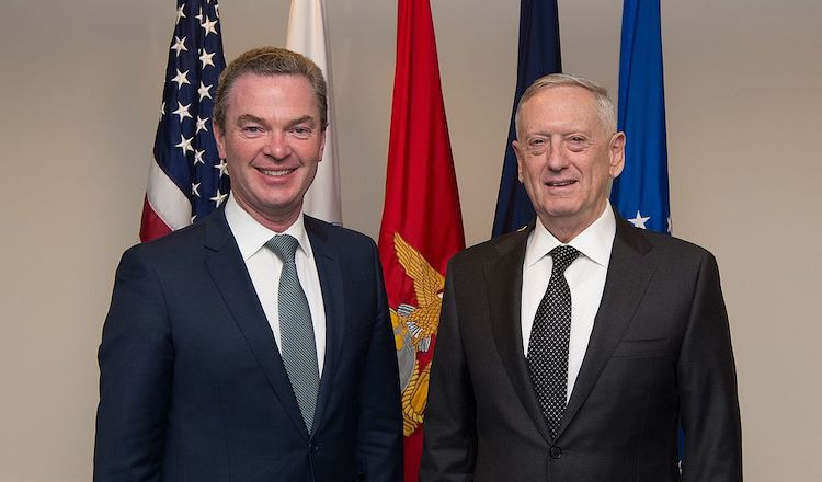 Photo: U.S. Defense Secretary Jim Mattis (right) stands with Australia's Minister for Defence Industry Christopher Pyne before an office call at the Pentagon in Washington, D.C., April 6, 2017. (DOD photo by U.S. Army Sgt. Amber I. Smith)