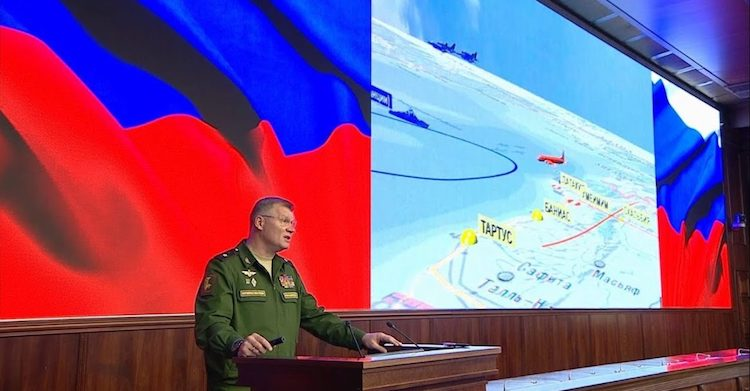 Photo: Russian defence ministry spokesperson Major-General Igor Konashenkov presents the results of an investigation into the shooting down on September 17 of a Russian Ilyushin Il-20 electronic signals intelligence aircraft. Credit: Russian MoD/YouTube