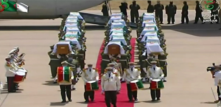 Photo: Algeria receives with full honours the skulls of 24 resistance fighters decapitated during French colonial rule that were held in storage in a Paris museum. Source: Algerian TV
