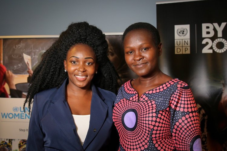 Photo: Winners of the 'SDGs and Her Competition' awards: Lucy Odiwa, owner of Tanzania-based WomenChoice Industries (right); and Mukuru Clean Stoves of Kenya owner, Charlot Magay (left). Credit: Sumaya Agha/UNDP