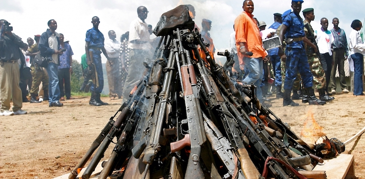 Photo: Weapons being burnt during the official launch of the Disarmament, Demobilization, Rehabilitation and Reintegration (DDRR) process in Muramvya, Burundi. Source: Africa Renewal.