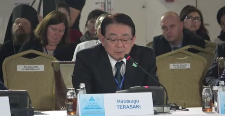 Photo: Hirotsugu Terasaki, Vice President, Director General of International Bureau, Peace and Global Issues, United Nations Liaison Offices, Soka Gakkai, addressing the opening session of the two-day Congress of the Leaders of World and Traditional Religions on October 10, 2018 in Astana, the capital of Kazakhstan. Credit: Katsuhiro Asagiri, IDN-INPS Multimedia director.