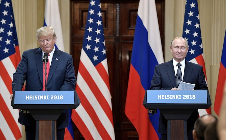 Photo: Vladimir Putin (right) and Donald Trump (left) at a news conference after their summit meeting in Helsinki on July 16, 2018. Credit: en.kremlin.ru
