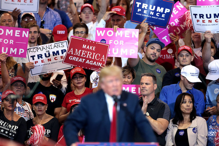 2020] Photo: Supporters of Donald Trump speaking at a campaign rally at the Phoenix Convention Center in Phoenix, Arizona. Credit: Gage Skidmore.
