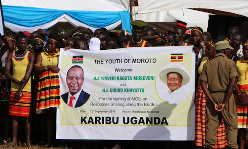 Young people in Moroto welcome the presidents of Uganda and Kenya. Photo: UN Uganda