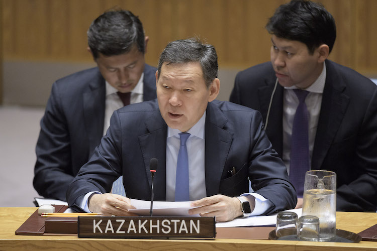 Photo: Ambassador Kairat Umarov, Chair of the Sanctions Committee on Somalia and Eritrea and Permanent Representative of Kazakhstan to the UN, addresses the Security Council meeting on the situation in Horn of Africa on 30 July 2018. United Nations, New York. Credit: UN Photo/Manuel Elias.