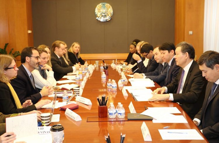 Photo: Kazakh Permanent Representative to the UN in New York, Ambassador Umarov (2nd from right on the right of the table), discusses with NGOs at the Kazakh UN Mission the Central Asian country's achievements as non-permanent Security Council member for 2017-2018. Credit: Kazakh Mission to the UN in New Yok.