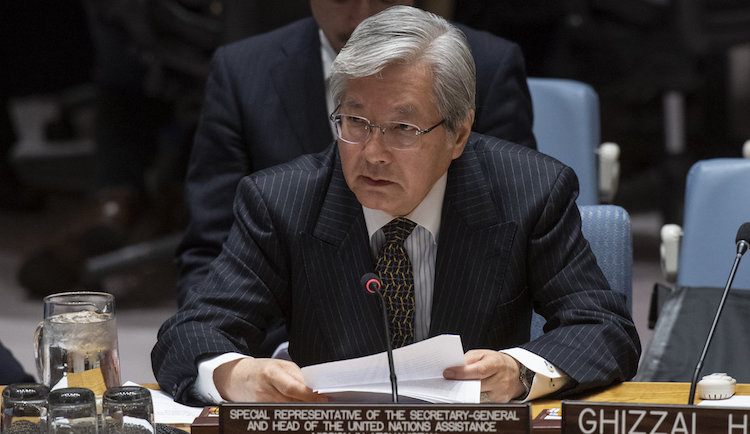Photo: Tadamichi Yamamoto, UN Secretary-General's Special Representative for Afghanistan, briefing the Security Council. Credit: unama.unmissions.org