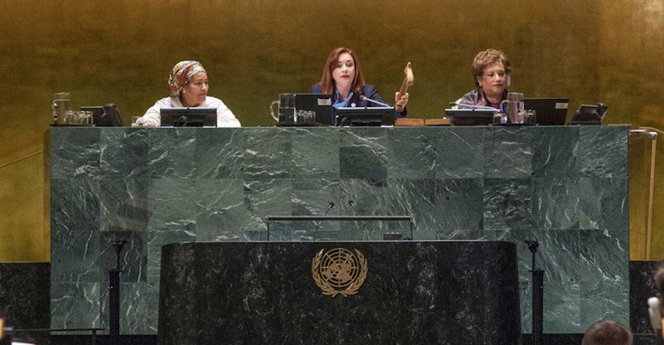 Photo: María Fernanda Espinosa Garcés, President of the seventy-third session of the General Assembly, gavels to a close the General Assembly's annual general debate. UN Photo | Cia Pak