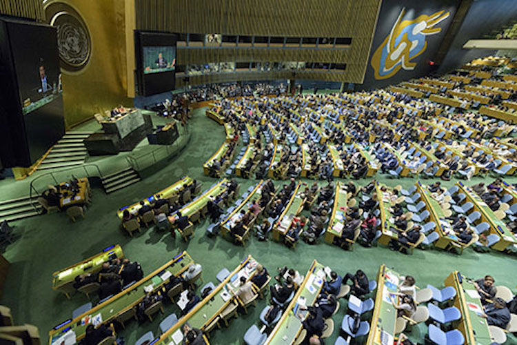 Photo: Wide view of the General Assembly Hall. UN Photo/Manuel Elias