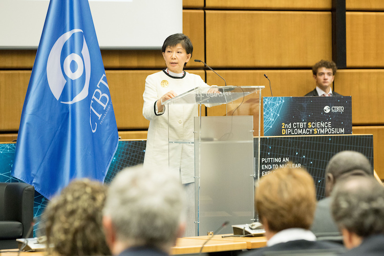 Photo: UNODA High Representative Izumi Nakamitsu delivering keynote speech on May 25, 2018 at the High Level Session of the Second Comprehensive Nuclear-Test-Ban Treaty (CTBT) Science Diplomacy Symposium in Vienna. Credit: CTBTO