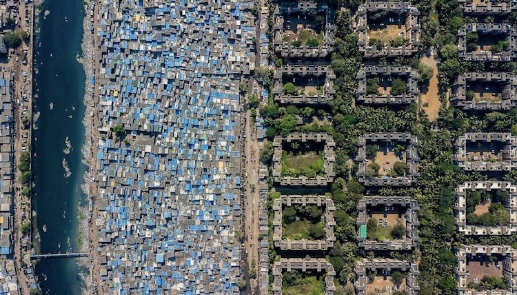 Photo: A drone photo of Mumbai from the series highlighting wealth inequality in cities around the world. Credit: MatadorNetwork