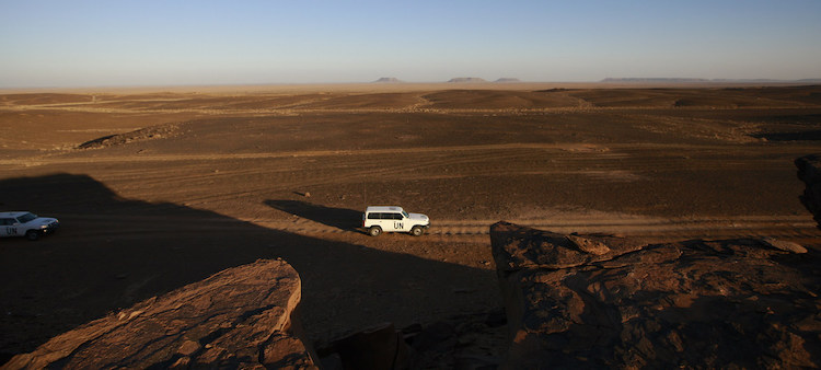 Photo: A UN patrol team, deployed for monitoring ceasefire, drives through the Smara area of Western Sahara. The Moroccan Government has reportedly launched an operation on the southern border of Western Sahara. UN Photo/Martine Perret (file)