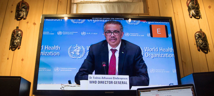 Photo: WHO Director-General Tedros Adhanom Ghebreyesus briefs virtually on the COVID-19 pandemic in Geneva. UN Photo/Eskinder Debebe