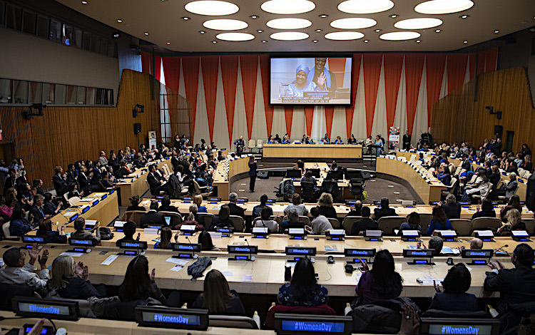 Photo: A wide view of the ECOSOC Chamber as UN Women Executive Director Phumzile Mlambo Ngcuka (on screen) speaks at the United Nations Observance of International Women's Day 08 March 2019. Credit: UN Photo/Eskinder Debebe