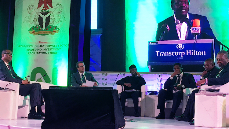 Photo: WTO Chief Azevêdo highlights important role of trade and investment in promoting sustainable development at the High Level Policy and Private Sector Trade and Investment Facilitation Partnership Forum in Abuja on November 2-3, 2017. Credit: WTO