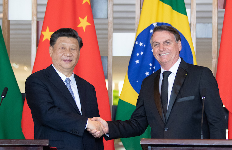 Photo: President Xi Jinping meets with his Brazilian counterpart Jair Bolsonaro in Brasilia, capital of Brazil, on Nov 13. Credit: Xinhua.