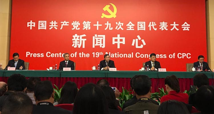 Photo (left to right): Sun Zhijun, vice-minister of Publicity Department of CPC Central Committee; Xia Weidong, full-time deputy director of Office of National Steering Committee for Ethical and Cultural Progress; Xiang Zhaolun, vice-minister of the Ministry of Culture; and Zhang Hongsen, vice-minister of State Administration of Press, Publication, Radio, Film and Television; attend the news conference during the 19th National Congress of the Communist Party of China in Beijing, 20 October 2017. Credit: Liu Wei/chinadaily.com.cn